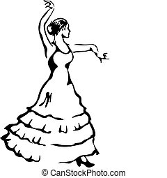 flamenco, dancer., vettore, illustration.