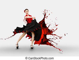 Flamenco dancer with dress turning to paint splashing on...