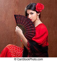 Flamenco dancer woman gipsy red rose spanish fan - Flamenco...