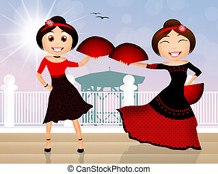Flamenco dancers - illustration of flamenco dancers