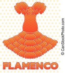 Flamenco dress card, vector