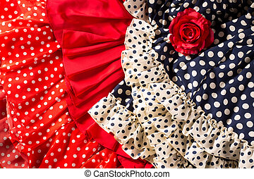 Flamenco dresses in red blue with spot and red rose -...