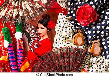 flamenco, frau, mit, stierkämpfer, und, typisch, spanien, espana