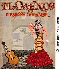 Flamenco. From Spain with love. Dancing girl with fan and...