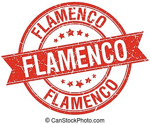 flamenco grunge retro red isolated ribbon stamp