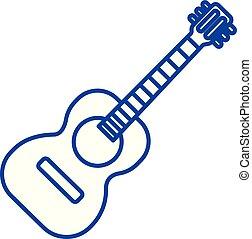 Flamenco guitar illustration line icon concept. Flamenco...
