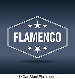 flamenco, hexagonal, blanco, vendimia, estilo retro, etiqueta