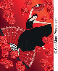 Flamenco - Illustration of a flamenco dancer with a spanish...