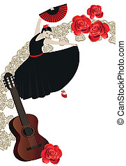 Illustration of a flamenco dancer with spanish fans and a guitar