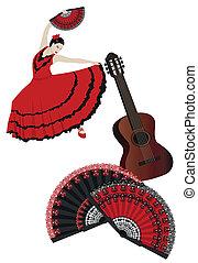 Flamenco - Illustration of a flamenco dancer with spanish...