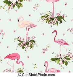 flamenco, pájaro, y, tropical, orquídea, flores, fondo., retro, seamless, patrón, en, vector