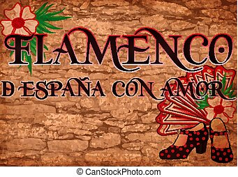 Flamenco party greeting banner, vector illustration