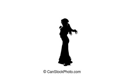 Flamenco. Professional dancer sexually moves her hips to the...