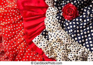 flamenco, robes, dans, rouges, bleu, à, tache, et, rose...