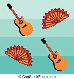 Flamenco seamless pattern with spanish guitar, vector...