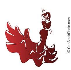 Flamenco silhouettes - Silhouette young female flamenco...