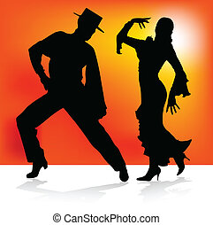 flamenco spanish dance in two vector silhouettes
