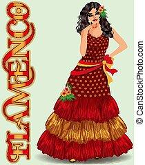 Flamenco. Spanish dancer girl in flamenco dress. vector illustration