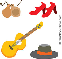 Flamenco spanish vector - Flamenco guitarist vector typical...