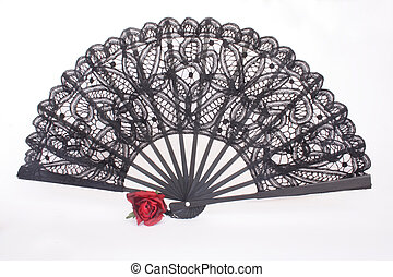 Flamenco - Open black fan and red rose