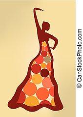 flamenco, surréaliste, dressed., point, artistique, dancer., illustration