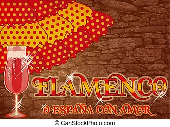 Flamenco. Translation is From Spain with Love. Festival party card with spanish wine, vector illustration