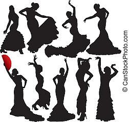 flamenco, vetorial, silhuetas