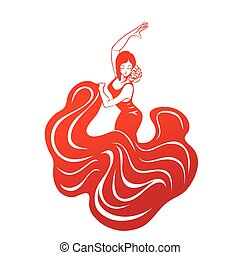 flamenco woman in expressive pose flat silhouette