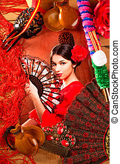 Flamenco woman with bullfighter and typical Spain Espana...