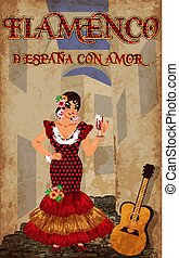 Flamenco.Translation is From Spain with Love. Spanish girl...