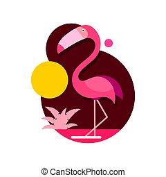 flamengo rosa, isolado, ilustração, vetorial, fundo, branca