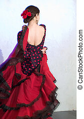 Flamenco dancer standing at the stage