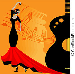 flamenko dancer in red-black - on abstract musical ...
