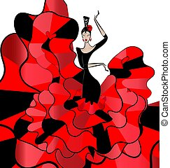 flamenko, mulher, dançarino