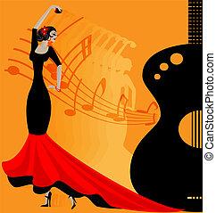 flamenko, tänzer, in, red-black