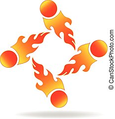 Flames and fire team logo