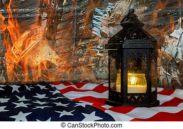 Flames burning home during the destroyed homes and the American Flag