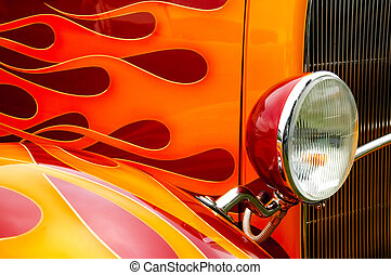 flames - colorful flaming paintwork and headlamp on a custom...