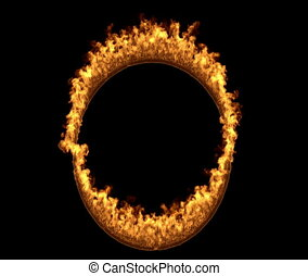 Flames design.wildfire backdrop - Ring of fire 3d rendering...
