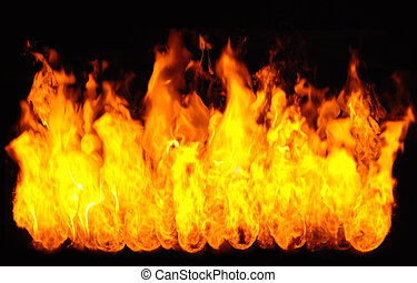 Flames - flaming tongues of fire on a black background