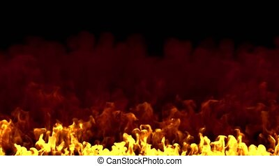 Flames gushing from the ground to the sky. 3D rendering.