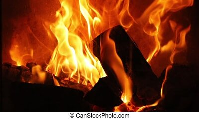 Flames of a fireplace