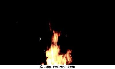 Flames of bonfire burning at night HD