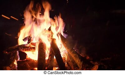 Flames of fire place lit the bonfire night sparks smoldering logs and falling snow close-up shot