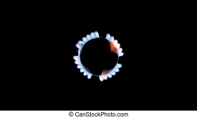 Flames of gas on a black background