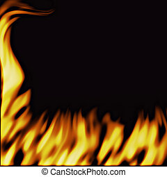 a large illustration of firey flames on a black background rising up