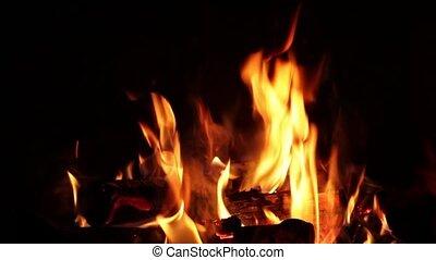 Flames on black