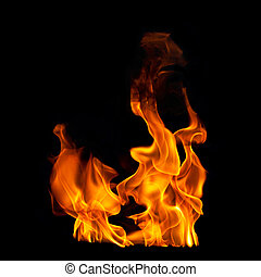 Flames on Black Photographic Background - Fire Flames on...
