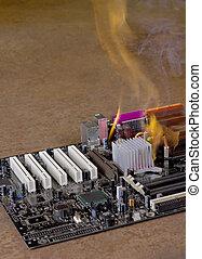 flames on burning main-board