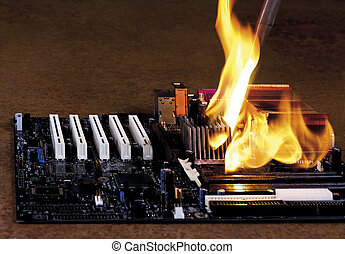 flames on electronic